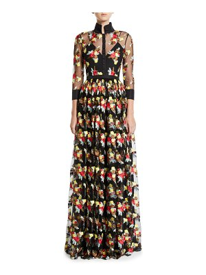 Badgley Mischka Collection 3/4-Sleeve Floral Embroidered Sheer Yoke Illusion Shirt Gown
