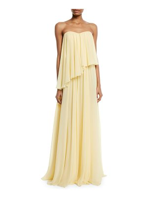 Badgley Mischka Collection Asymmetric Strapless Popover Gown