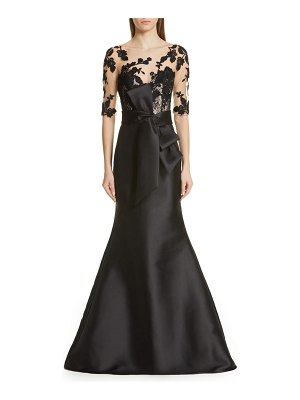 Badgley Mischka Collection badgley mischka lace accent bow evening dress