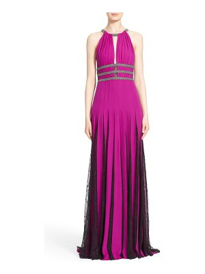 Badgley Mischka Collection badgley mischka couture silk halter gown with lace pleats
