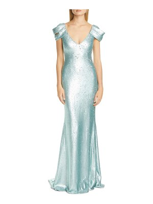 Badgley Mischka Collection badgley mischka drape sleeve sequin trumpet gown