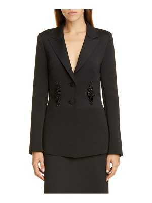 Badgley Mischka Collection badgley mischka embellished scuba knit jacket