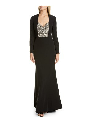 Badgley Mischka Collection badgley mischka long sleeve embellished gown