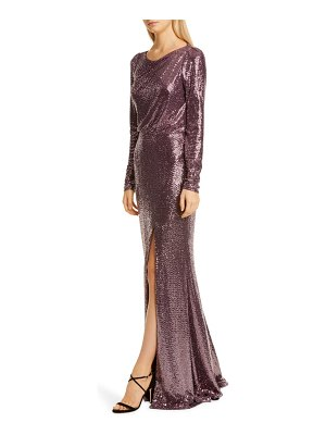 Badgley Mischka Collection badgley mischka long sleeve sequin gown