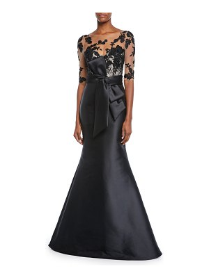 Badgley Mischka Collection Bateau-Neck Elbow-Sleeve Illusion Gown w/ Floral Embroidery