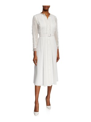 Badgley Mischka Collection Button-Front 3/4-Sleeve Belted Shirtdress w/ Lace