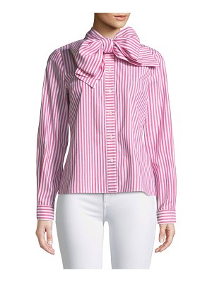 Badgley Mischka Collection Candy Stripe Long-Sleeve Bow-Collar Blouse