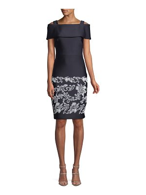 Badgley Mischka Collection Cold-Shoulder Sheath Dress w/ Embroidered Hem