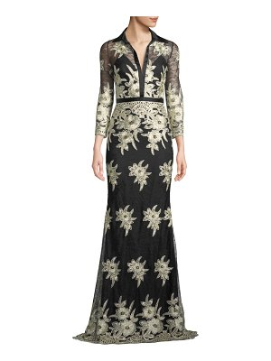 Badgley Mischka Collection Collared Floral Lace Shirt Dress