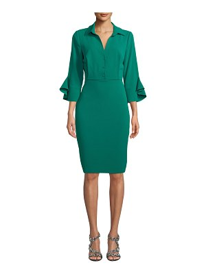 Badgley Mischka Collection Collared Trumpet-Sleeve Dress
