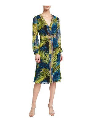 Badgley Mischka Collection Contrast Border Print Long-Sleeve Dress