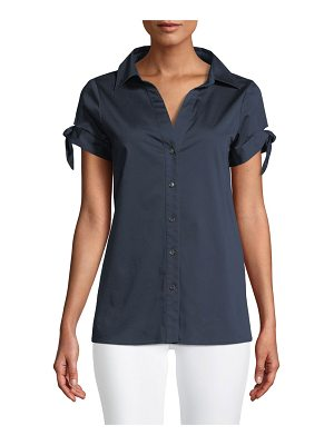 Badgley Mischka Collection Cotton-Blend Blouse w/ Tie Sleeves