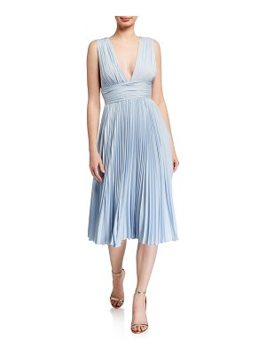 Badgley Mischka Collection Deep V-Neck Sleeveless Pleated Midi Dress