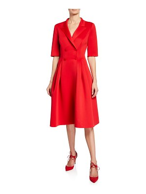 Badgley Mischka Collection Elbow-Sleeve Double-Breasted Scuba Dress