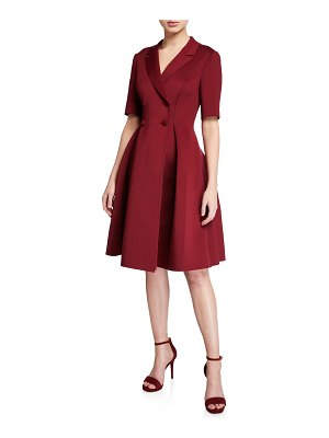 Badgley Mischka Collection Double-Breasted Elbow-Sleeve Scuba Shirtdress