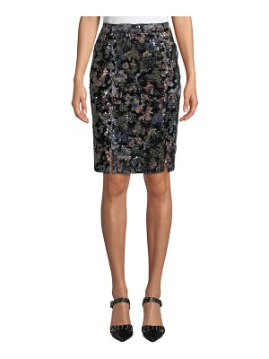 Badgley Mischka Collection Double-Vented Sequin Floral Skirt