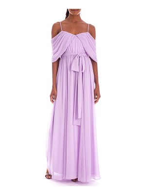 Badgley Mischka Collection Draped Off-the-Shoulder Georgette Gown