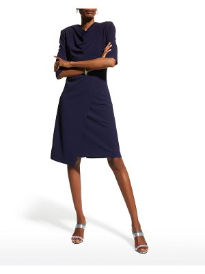 Badgley Mischka Collection Elbow-Sleeve Stretch Crepe Dress