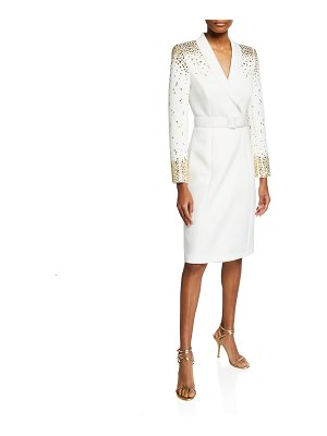 Badgley Mischka Collection Embellished Scuba Dress w/ Belt