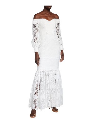 Badgley Mischka Collection Eyelet Lace Off-the-Shoulder Gown
