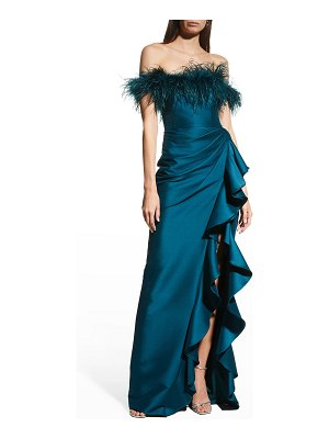Badgley Mischka Collection Feather-Trim Off-Shoulder Ruffle Gown