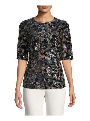 Badgley Mischka Collection Fitted Sequin Floral Top