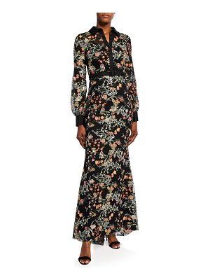 Badgley Mischka Collection Floral Embroidered Tulle Long-Sleeve Column Gown