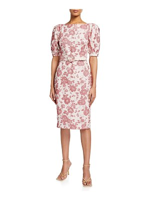 Badgley Mischka Collection Floral Jacquard Puff-Sleeve Belted Sheath Dress