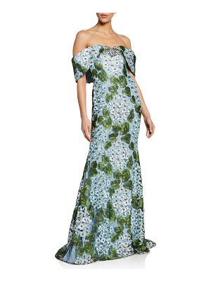 Badgley Mischka Couture Floral Lace Off-the-Shoulder Gown