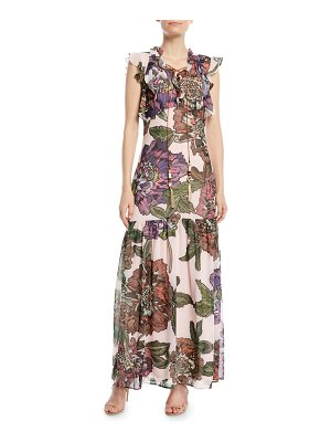 Badgley Mischka Collection Floral Maxi Dress w/ Self-Tie Neck