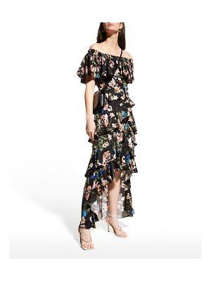 Badgley Mischka Collection Floral Off-Shoulder High-Low Ruffle Dress
