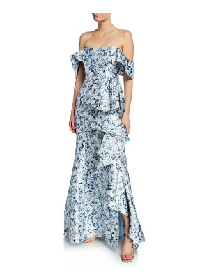Badgley Mischka Collection Floral Off-the-Shoulder Short-Sleeve Ruffle Gown