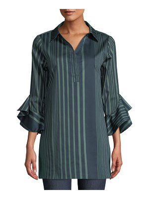 Badgley Mischka Collection Floral-Placement Ruffled-Cuffs Striped Tunic Blouse