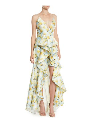Badgley Mischka Collection Floral-Print Mikado Ruffle High-Low Gown