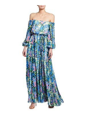 Badgley Mischka Collection Floral Print Off-the-Shoulder Chiffon Gown