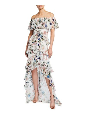 Badgley Mischka Collection Floral Print Off-the-Shoulder High-Low Ruffle Gown
