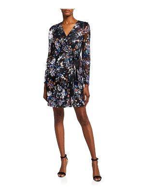 Badgley Mischka Collection Floral Print Sequin Embellished Tulle Dress with Bow