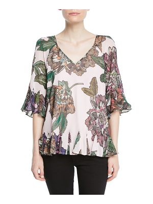 Badgley Mischka Collection Floral-Print V-Neck Peasant Top