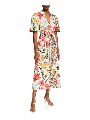 Badgley Mischka Collection Floral Puff-Sleeve A-Line Dress