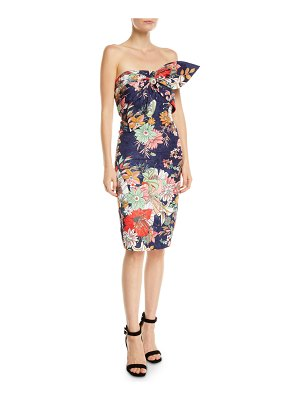 Badgley Mischka Collection Floral Strapless Bow Bustier Dress