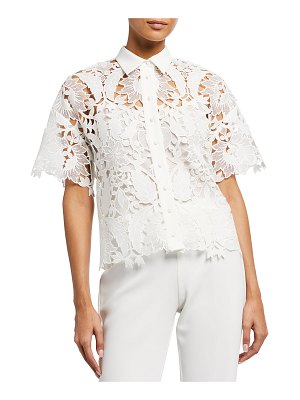 Badgley Mischka Collection Guipure Lace Collared Short-Sleeve Top
