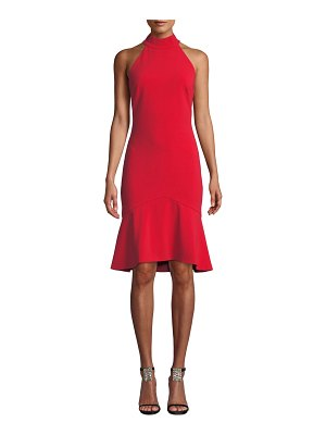 Badgley Mischka Collection Halter-Neck Cocktail Dress with Flounce Hem