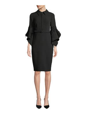 Badgley Mischka Collection Hanky Bell-Sleeve Shirt Cocktail Dress w/ Lace Trim