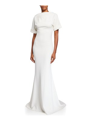 Badgley Mischka Collection High-Neck Low-Back Roll-Sleeve Crepe Mermaid Gown