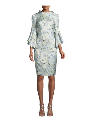 Badgley Mischka Collection High-Neck Trumpet-Sleeve Brocade Sheath Dress