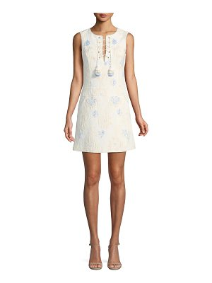 Badgley Mischka Collection Jacquard Sleeveless Mini Dress w/ Lace-Up Neck