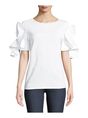 Badgley Mischka Collection Knit T-Shirt w/ Origami Sleeves