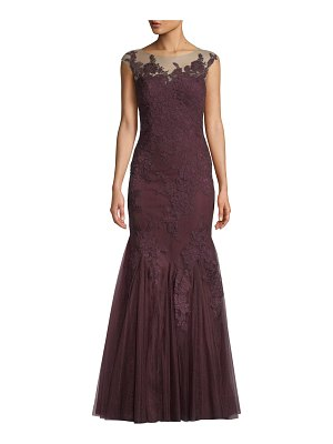 Badgley Mischka Collection Lace-Illusion Mermaid Gown
