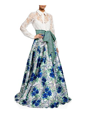 Badgley Mischka Collection Lace-Shirt with Floral Skirt A-Line Gown