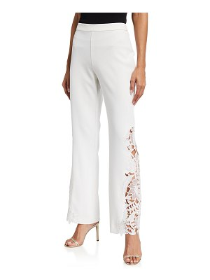 Badgley Mischka Collection Lace-Side Boot-Cut Crepe Pants
